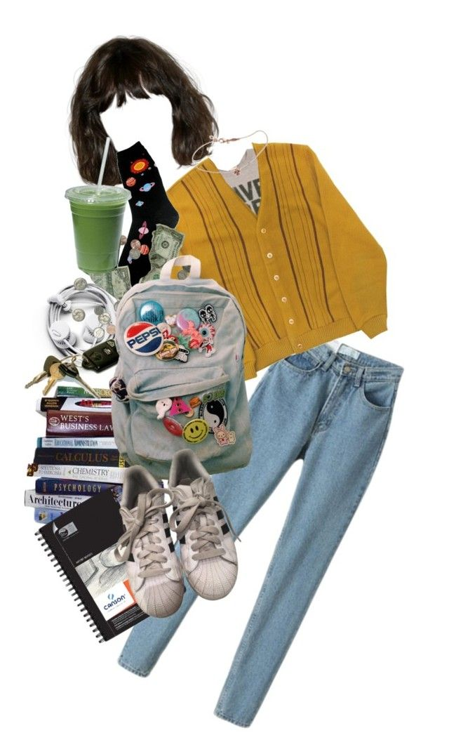 """first semester"" by cool-af ❤ liked on Polyvore featuring Foot Traffic, Jacquie Aiche, Universal and adidas"