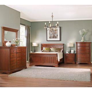 Glenwood brown cherry sleigh collection 5 piece bedroom - 5 piece queen sleigh bedroom set ...