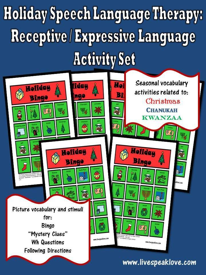 Holiday Speech Language Therapy Activity Set Target Expressive And Receptive Language Skills Using Christmas Hanukkah C Speech Language Speech Language Therapy Speech Therapy Activities