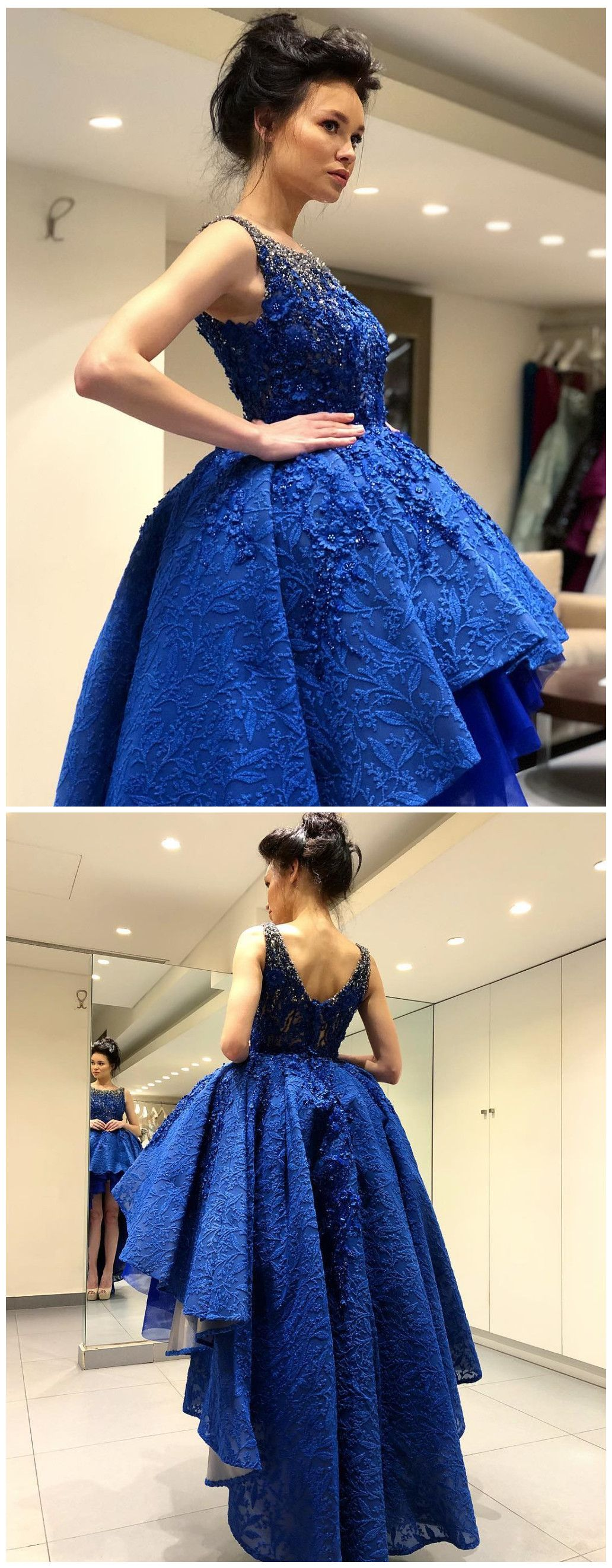 Aline scoop high low prom dress with lace royal blue asymmetrical