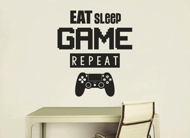 Eat Sleep Game Repeat Gaming Wall Art Vinyl Decal Poster Art Mural Vinyl Wall Decal Gaming Setup Gaming Wall Art Game Room Decor Wall Sticker Design