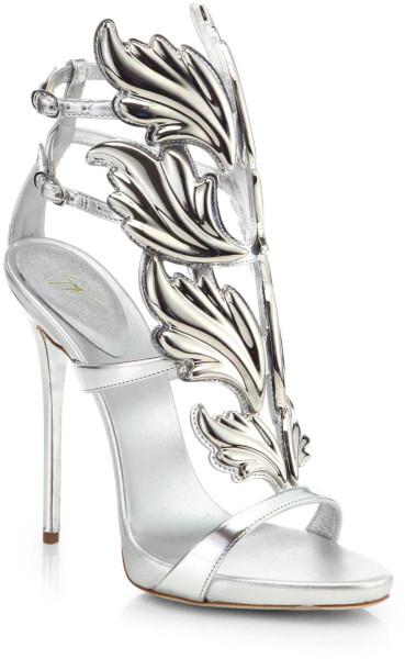 c6dd360243d Giuseppe Zanotti Silver Metallic Leather Wing Sandals $1595 heel ...