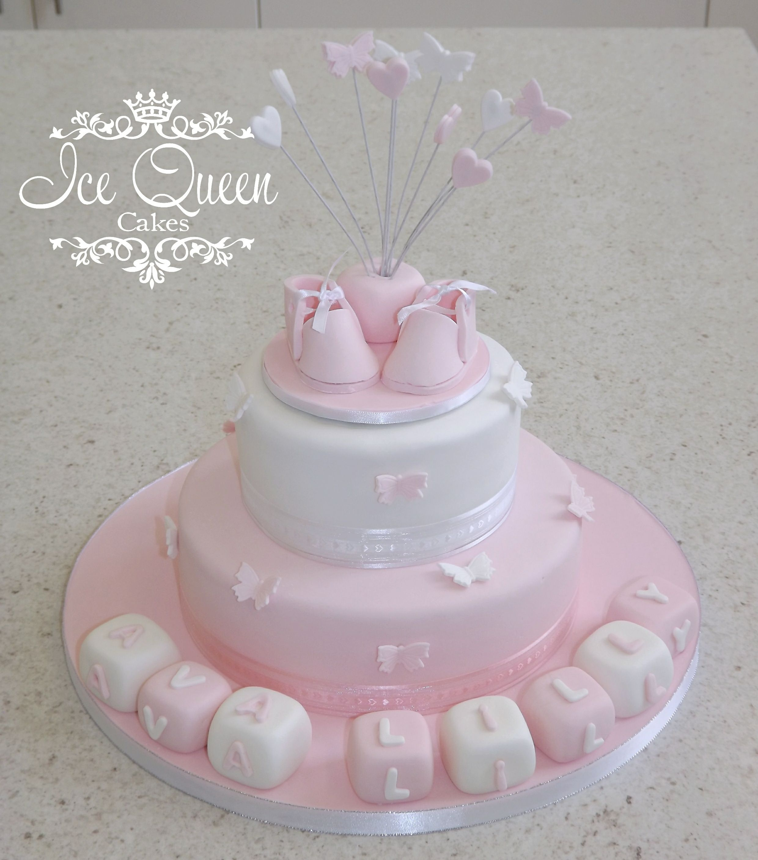 2 tier pink & white baby christening cake Butterflies & blocks Ice