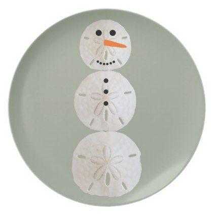 Sand Dollar Snowman Melamine Plate - #Xmas #ChristmasEve Christmas