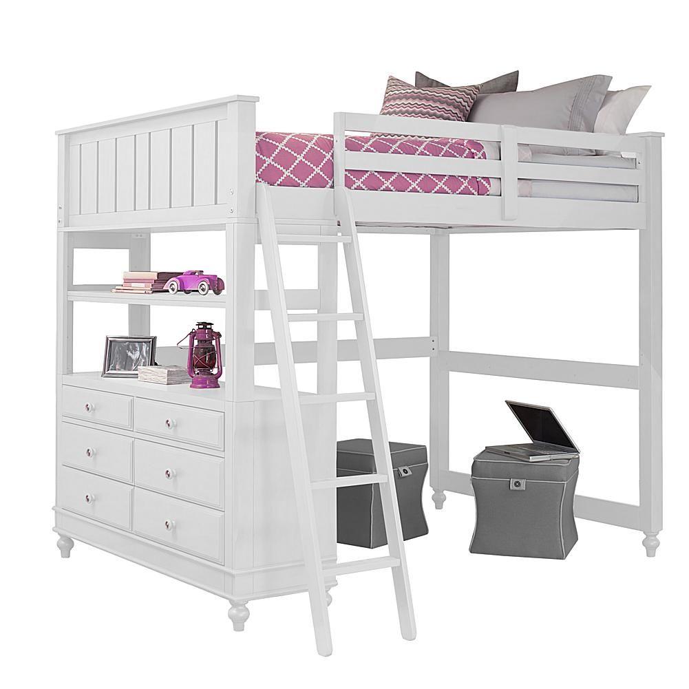 Javin loft bed with desk  Hillsdale Furniture Lake House Loft Twin Bed  Tan  Hillsdale