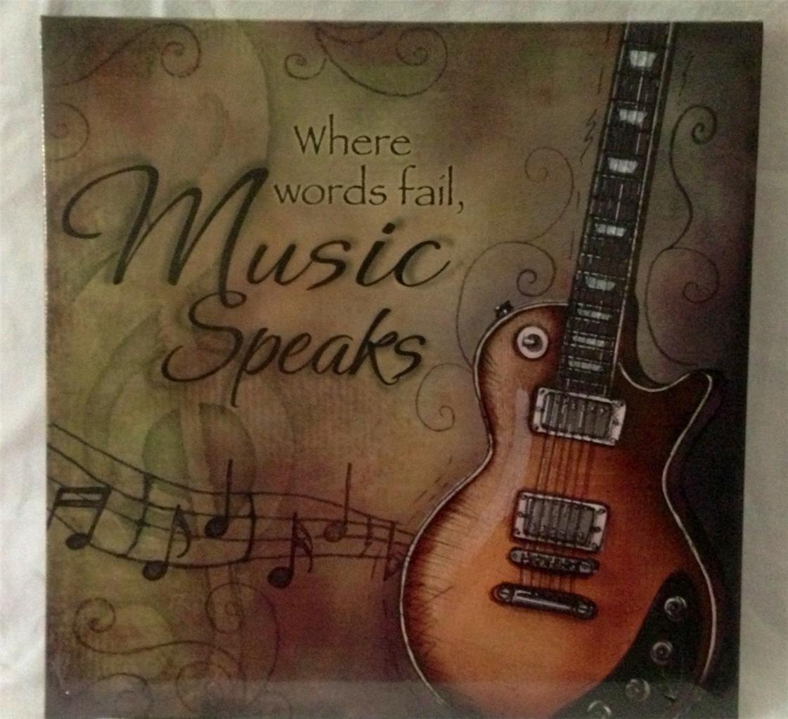 "Music 12 Where Words Fail...Music Speaks Decal Guitar Wall Sticker 20/""x22/"""