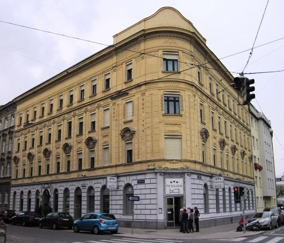 Wedge-shaped old building in Vienna, Austria