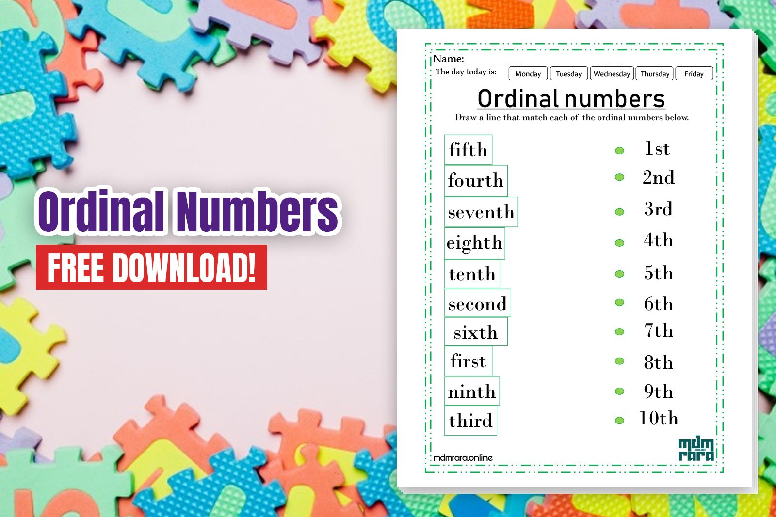 Ordinal Numbers Worksheets With Images