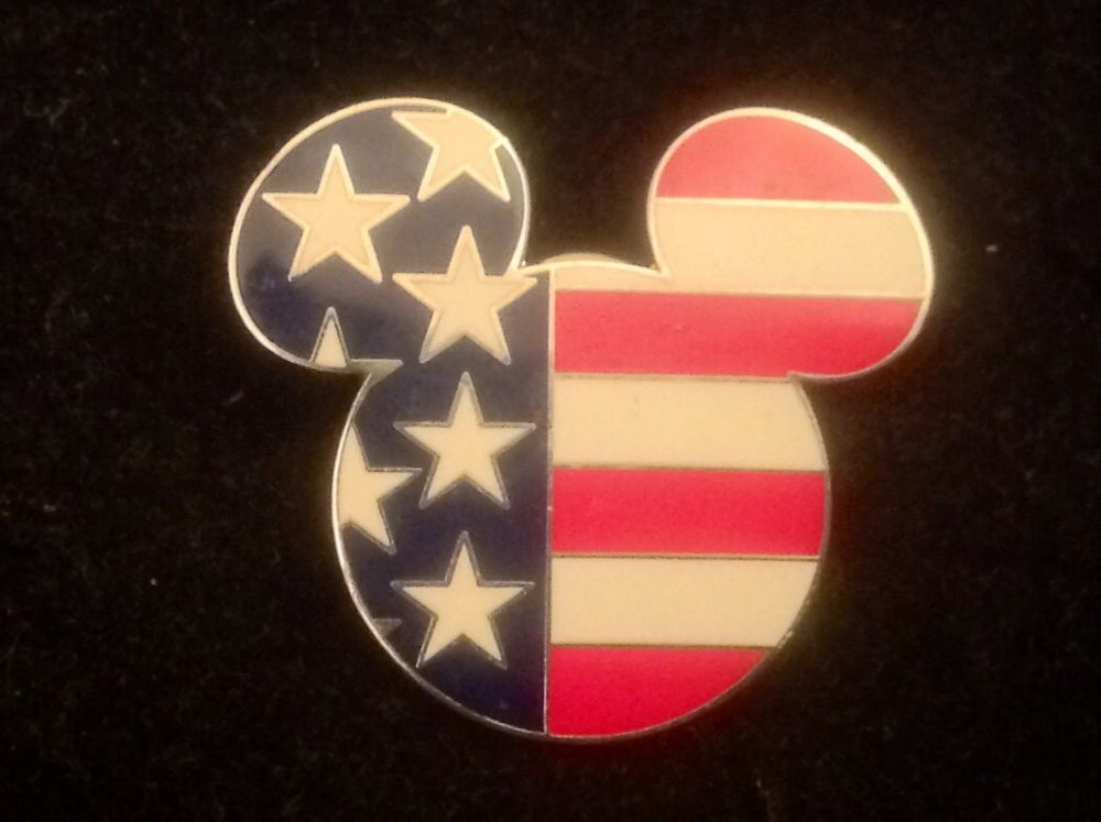 0b74ffc13af Disney Pin Patriotic Mickey Mouse Head US Flag Lapel 1.5 Pin Star Stripes  Enamel in Pins   Brooches