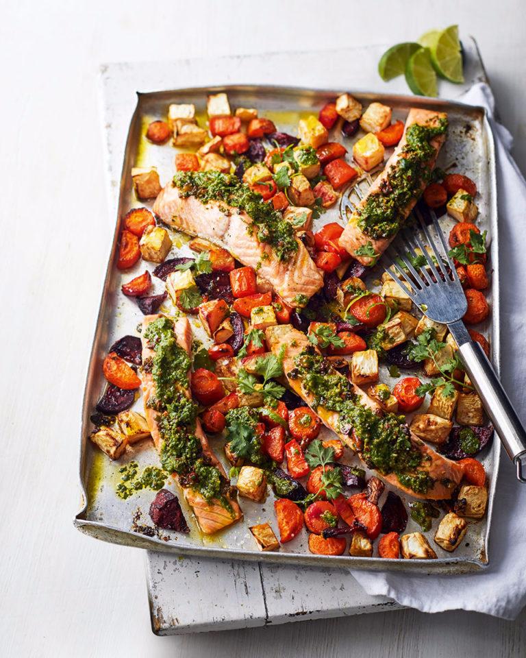 salmon and root vegetable traybake with quick coriander pesto recipe family dinner recipes dinner recipes easy chicken dinner recipes ru pinterest com