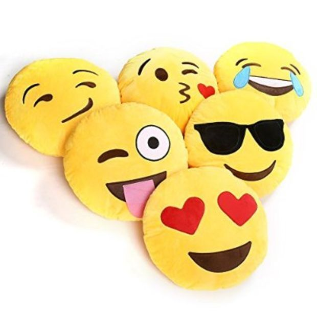 Ciamlir Soft Emoji Smiley Emoticon Yellow Round Cushion Pillow Stuffed Plush Toy Doll Emoji Pillows Plush Emoji Plush Dolls
