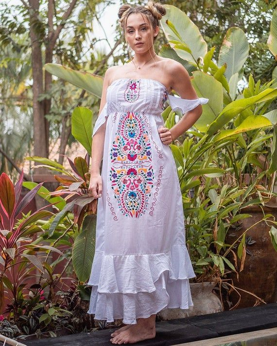 Off the shoulder dress Evamae Mexican Dress Embroidered Perfect Fiesta Dress Sleeveless Luxury Beach #beachvacationclothes