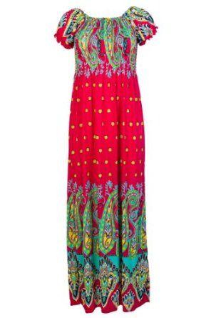 50786e81c1 92H Womens Pink Paisley Print Ladies Stretch Gypsy Long Summer Maxi Dress  Size 8 10