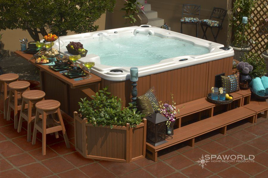 Putting A Jacuzzi Outdoors And Discovering A Great View Will Assist You Unwind And Develop An Inner Peace Which Hot Tub Surround Hot Tub Backyard Hot Tub Deck