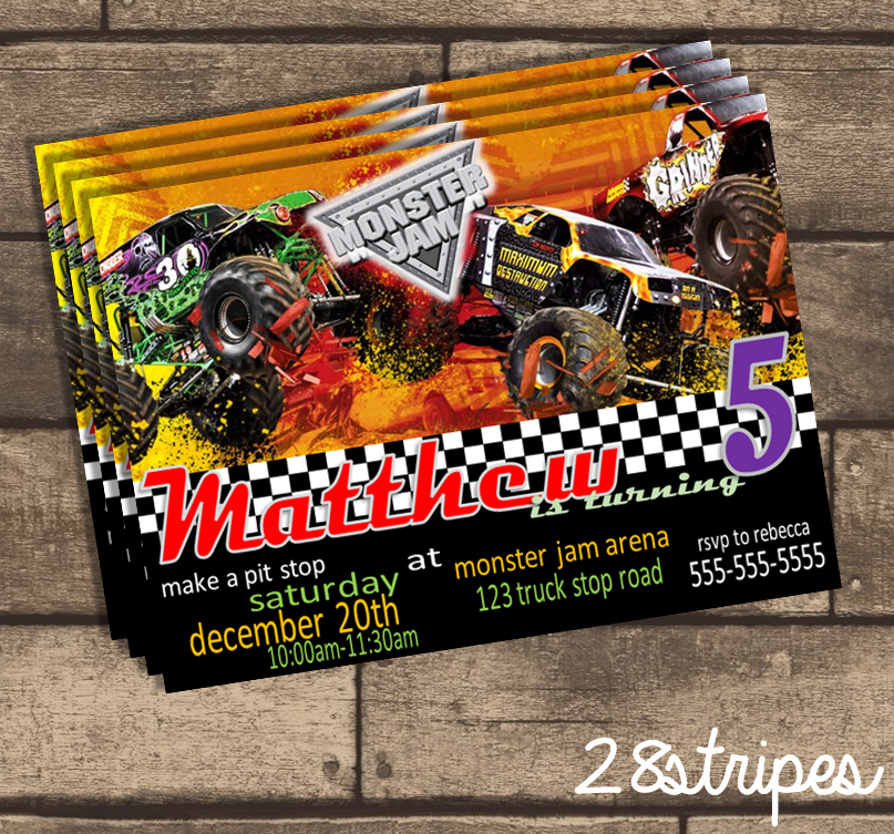 Monster Jam Themed - Monster Truck - Birthday Party Invitation ...