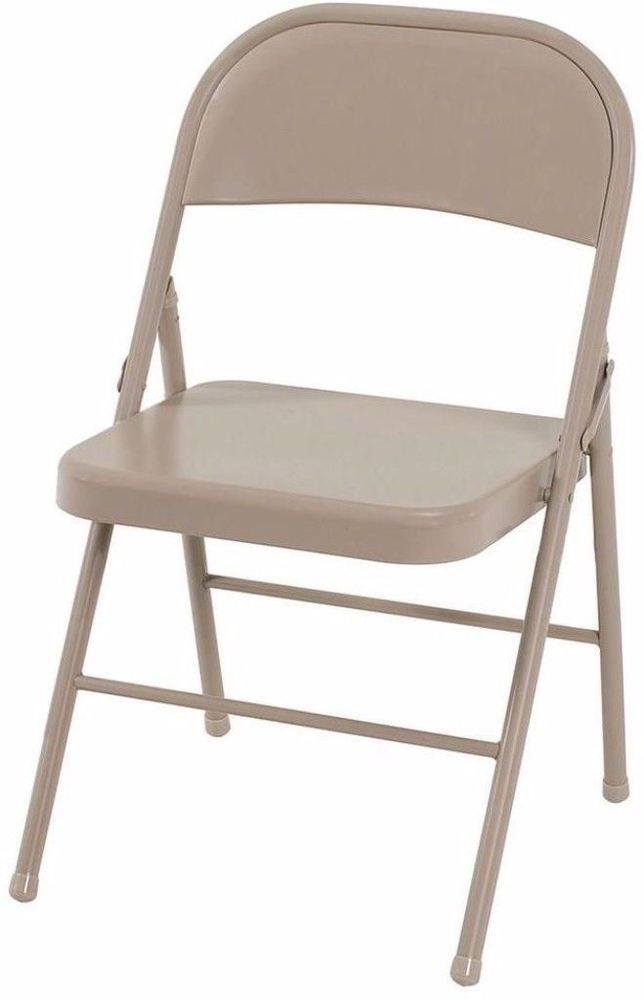 All Steel Folding Chairs Set Of Four Heavy Duty In Antique Linen
