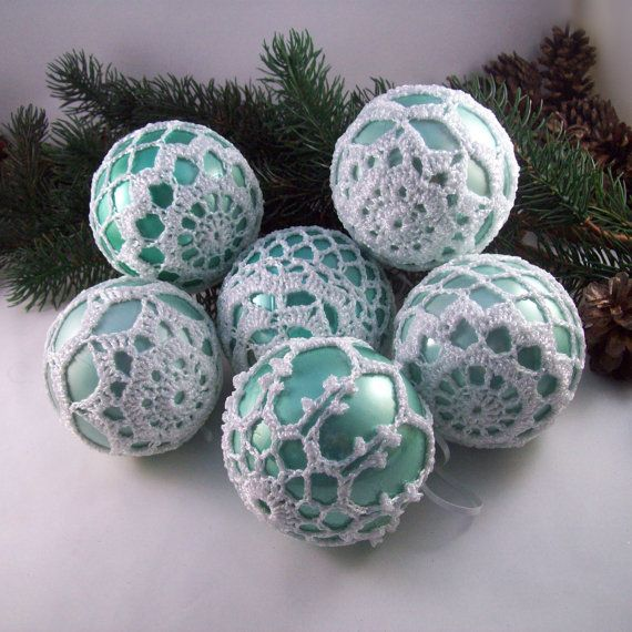 Duck Egg & White Christmas Baubles, Tree Decorations