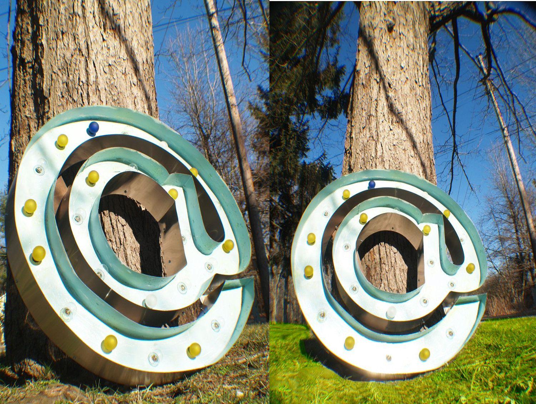 Metal Wood Letter At Symbol Vintage Marquee Extra Large Custom