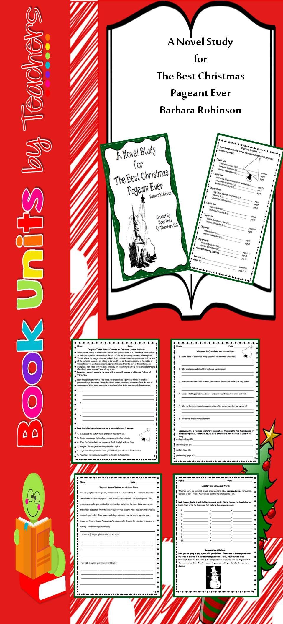 worksheet The Best Christmas Pageant Ever Worksheets the best christmas pageant ever by barbara robinson book unit includes reading language writing comprehension