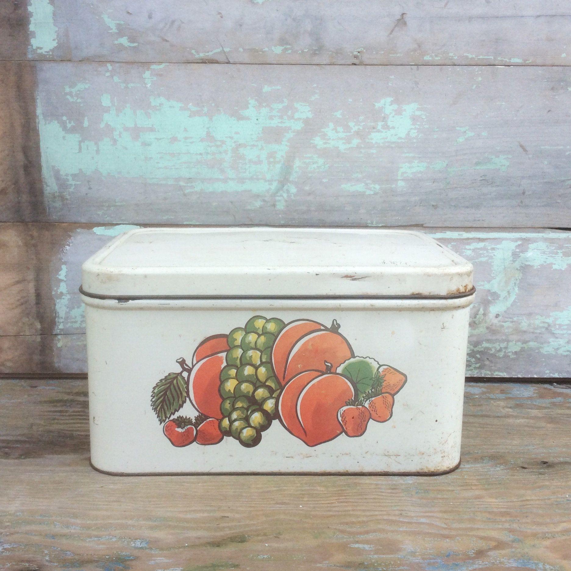 Vintage White Tin Metal Decoware Kitchen Bread Box Storage Container W Green Grapes Re Metal Tins Storage Boxes Green Grapes