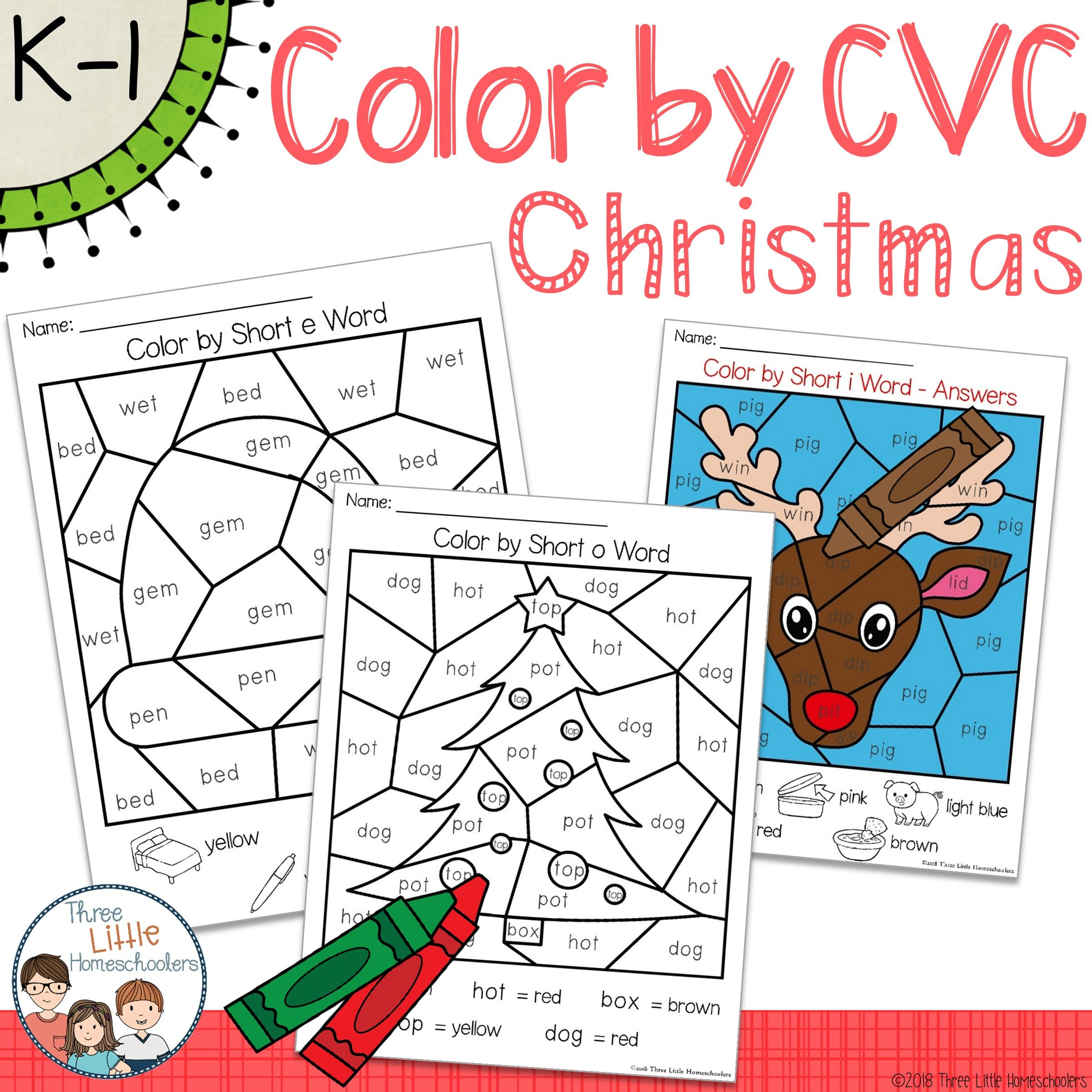 Christmas Color By Cvc Word