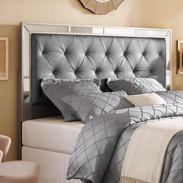 Silver Queen Full Size Upholstered Tufted Mirrored Headboard Ping S On