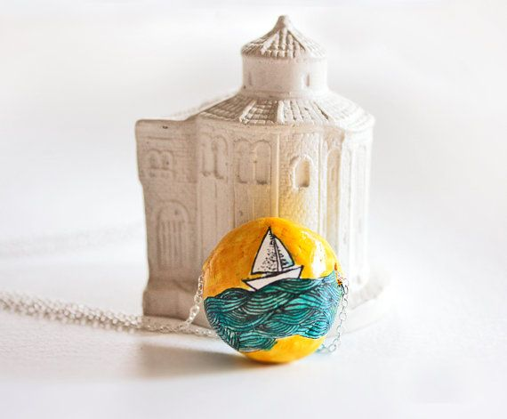 Turquoise illustrated pendant polymer clay jewelry by tadastudio, $20.50