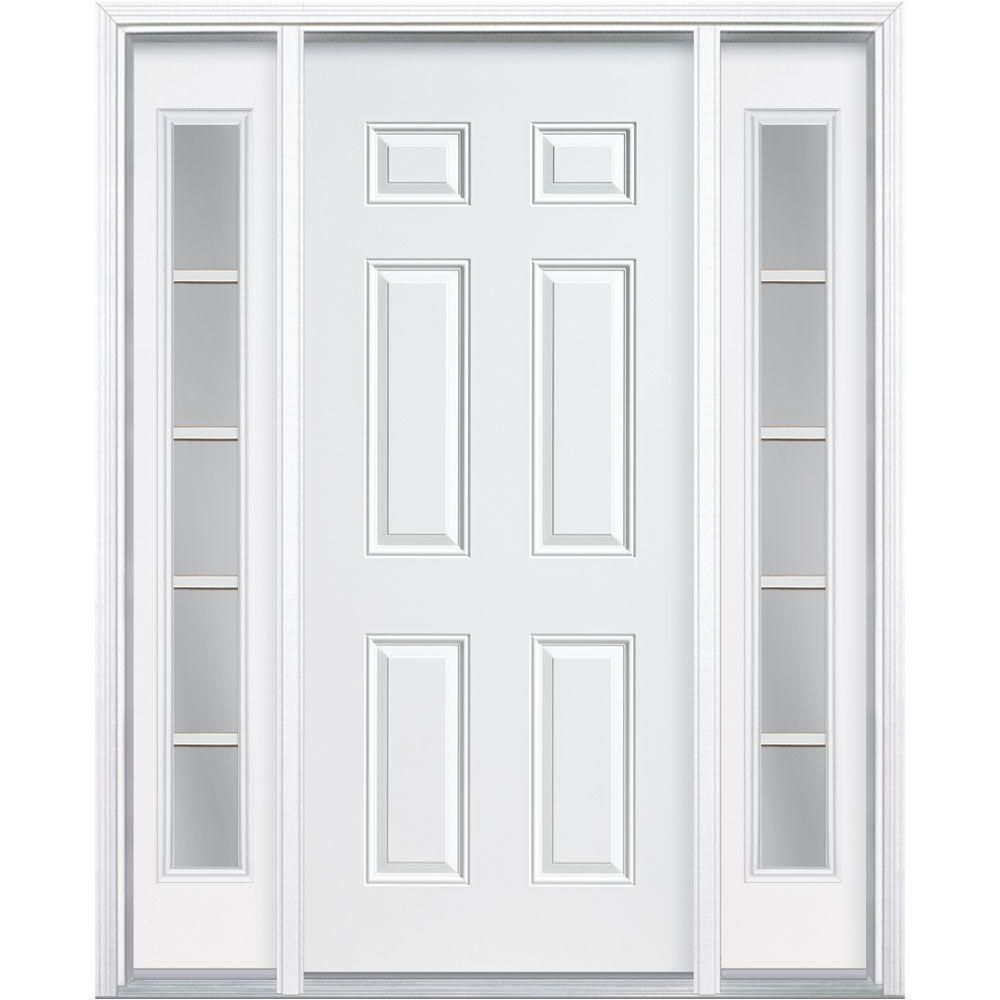 Masonite 60 In X 80 In Premium 6 Panel Right Hand Inswing Primed Steel Prehung Front Door With Two 10 In 5 Lite Sidelite 45087 The Home Depot Steel Doors Exterior Steel Entry Doors Steel Front Door