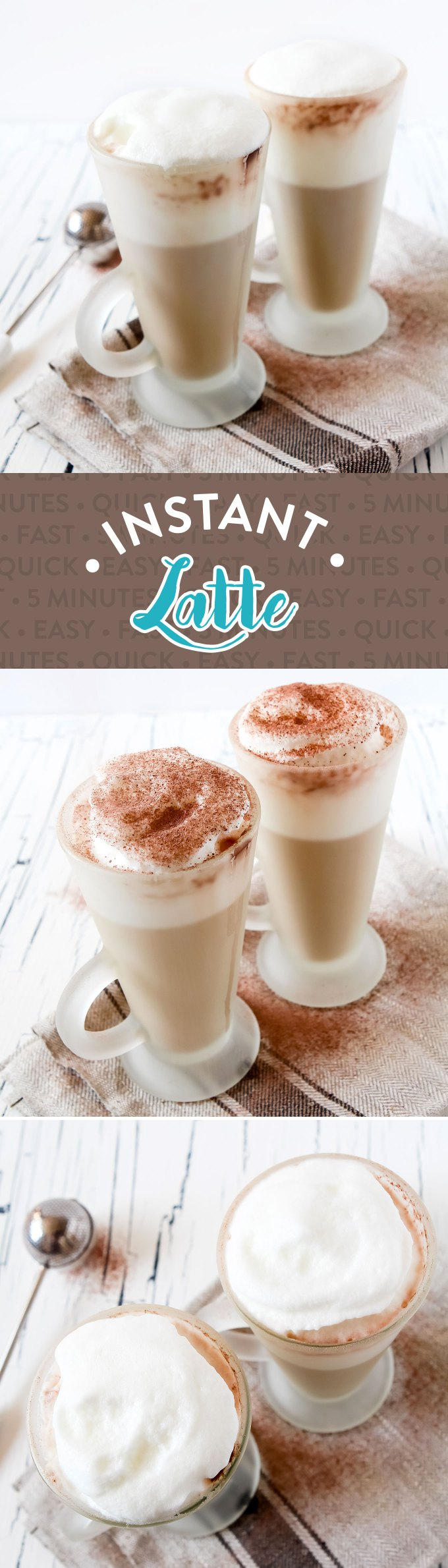 Coffee Shop Style Homemade Instant Latte Recipe by Sweet2EatBaking.com   No need to nip to the shop for your latte fix! This instant latte is made in minutes with 2-3 ingredients, has a delicious flavour and foamed milk!