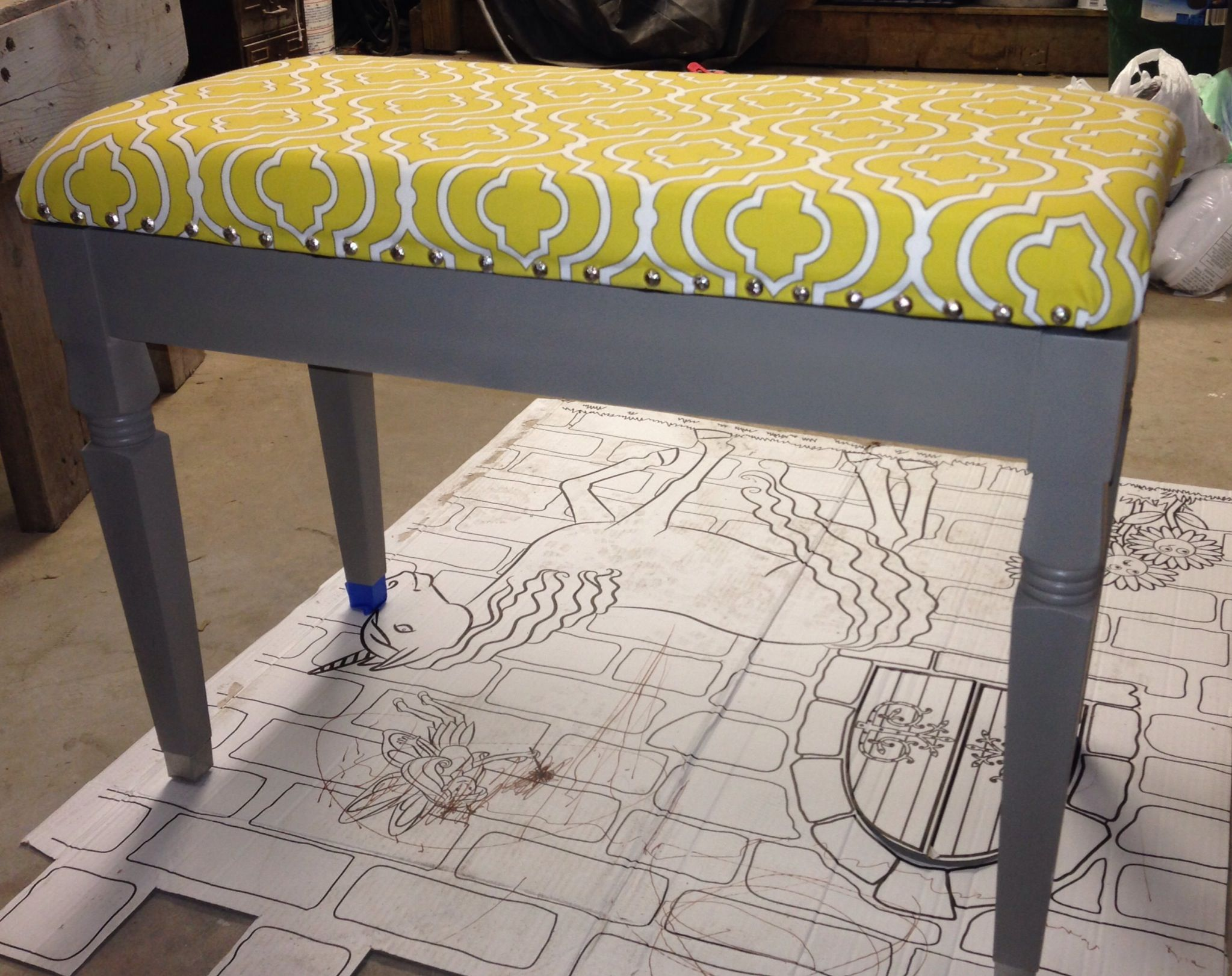 Piano Bench Brought Back To Life With Modern Pattern On Cushion And A Smokey Grey Paint On Base Tied Together With Brushe Redo Furniture Piano Bench Front Room