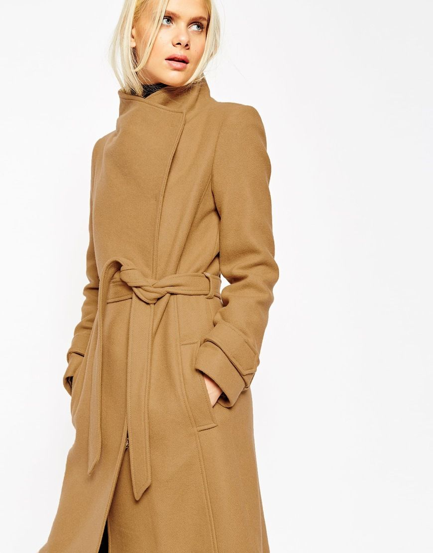 7c609783456a Image 3 of ASOS Coat With Funnel Neck And Belt In Wool