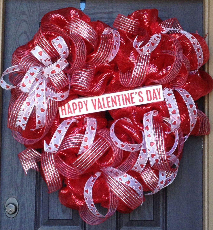 XL Valentine Heart Shaped Deco Mesh Wreath. $114.97, via Etsy.