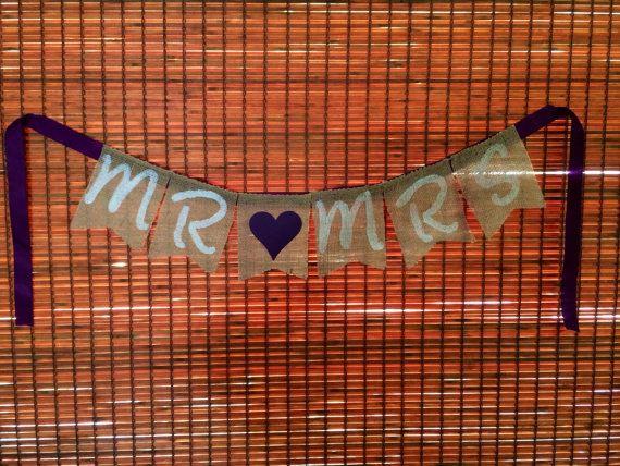 MR & MRS Burlap Banner by TwistedBridge on Etsy, $14.50