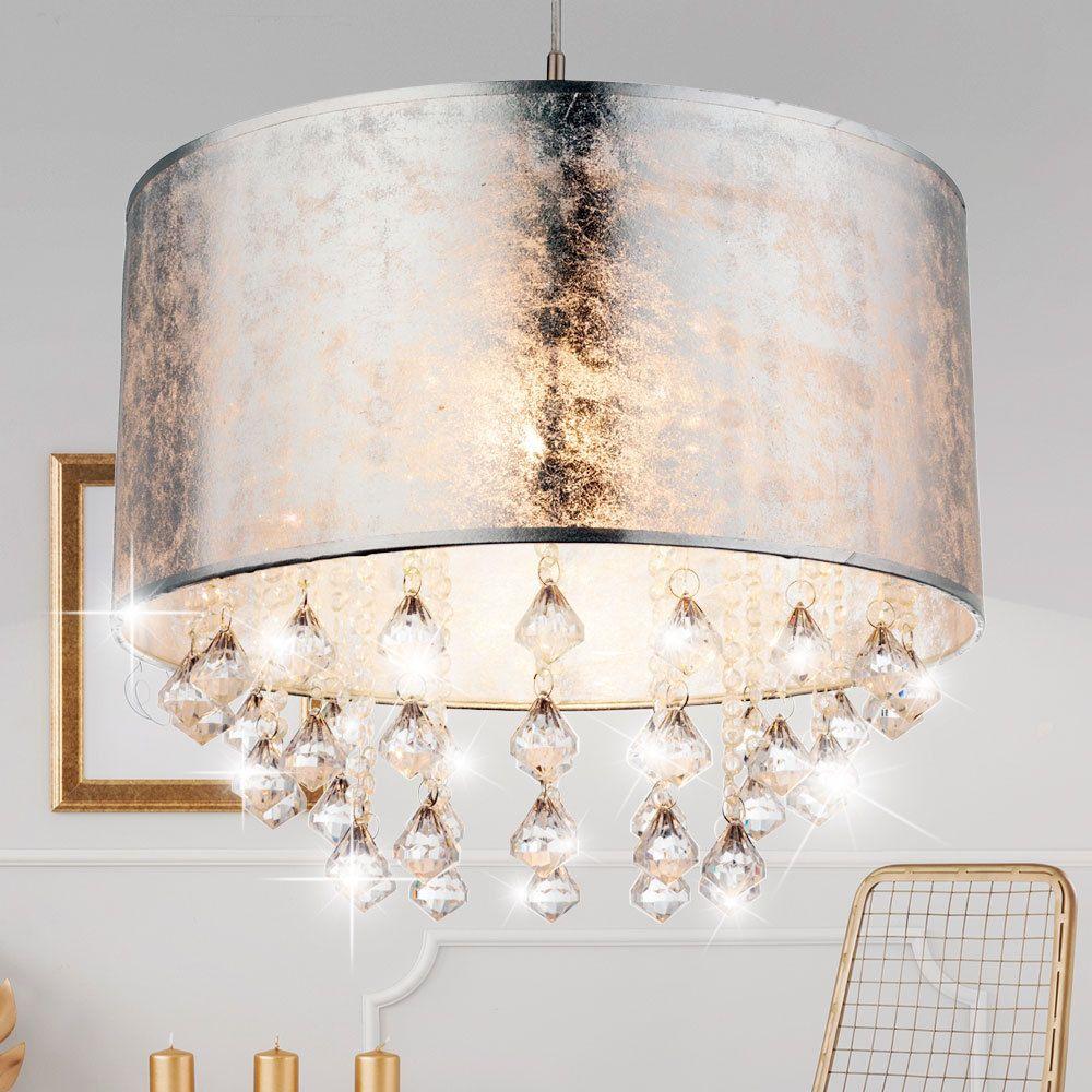 Pendel Lampe Hänge Leuchte Schlafzimmer Textil Kristall ...