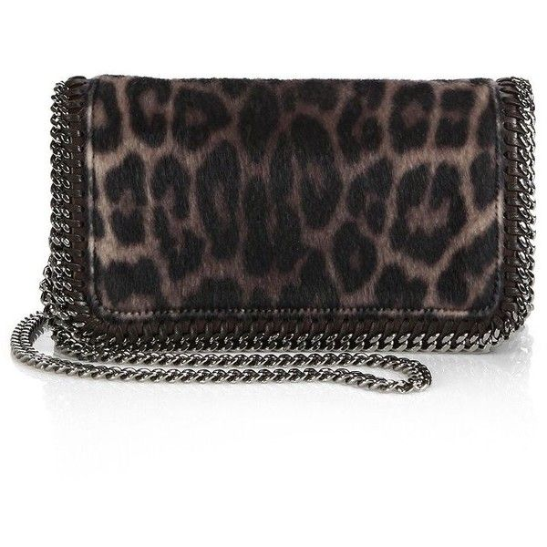 Stella McCartney Falabella Leopard-Print Faux Fur Crossbody Bag (€940) ❤ liked on Polyvore featuring bags, handbags, shoulder bags, apparel & accessories, leopard, leopard print crossbody purse, faux-leather handbags, stella mccartney handbags, crossbody purse and chain crossbody