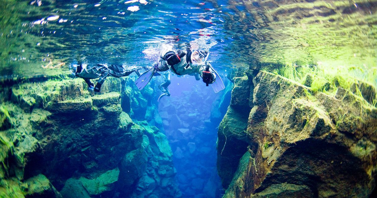 Brave the chilly waters of Iceland's Thingvellir Lake and go snorkeling in Silfra lava fissure between the American and European continents. With amazing underwater visibility, this top-rated dive site can be enjoyed on a half-day tour from Reykjavik.