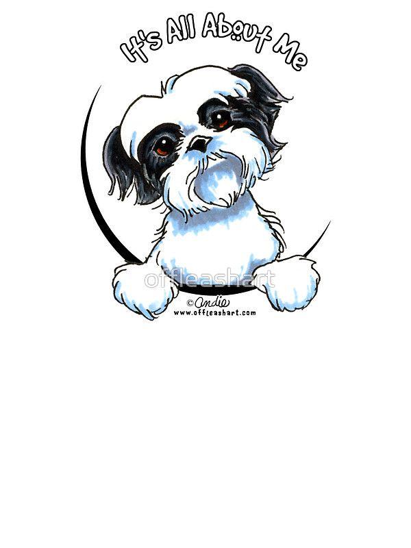 Black White Shih Tzu It S All About Me Sticker By Offleashart Shih Tzu Dog Drawing Shih Tzu Dog