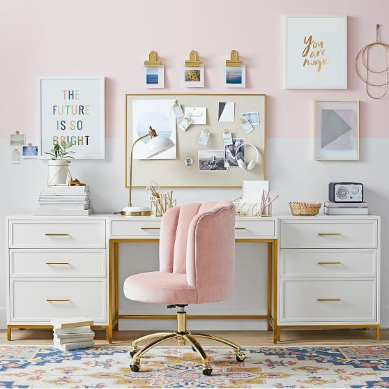 Channel Stitch Task Chair, Luxe Velvet Dusty Rose – Furniture – Desk Chairs