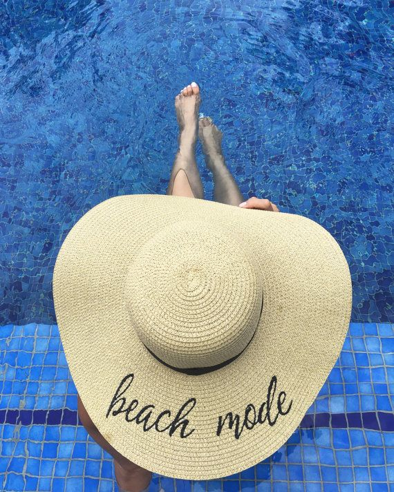 3658685d Embroidered Beach Mode Floppy Beach Hat | Personalized Sun Hat ...