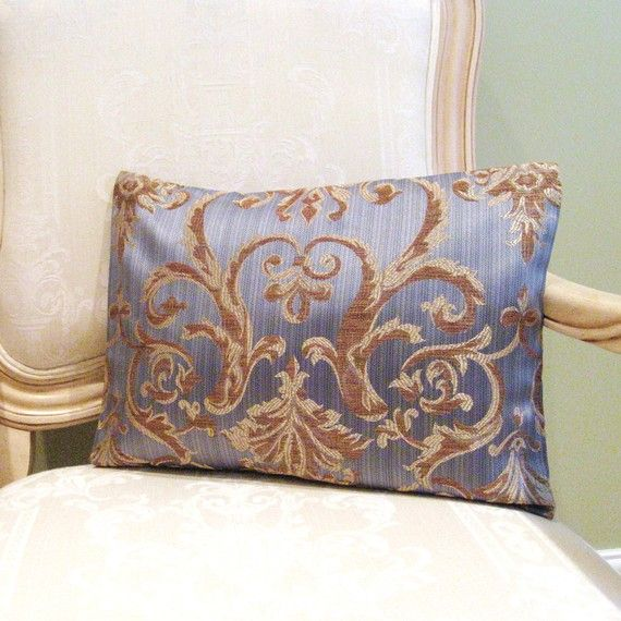 Pillow Cover In Designer Gold And Brown Scrolls On Silver Grey Blue Classy Newport Pillow Covers