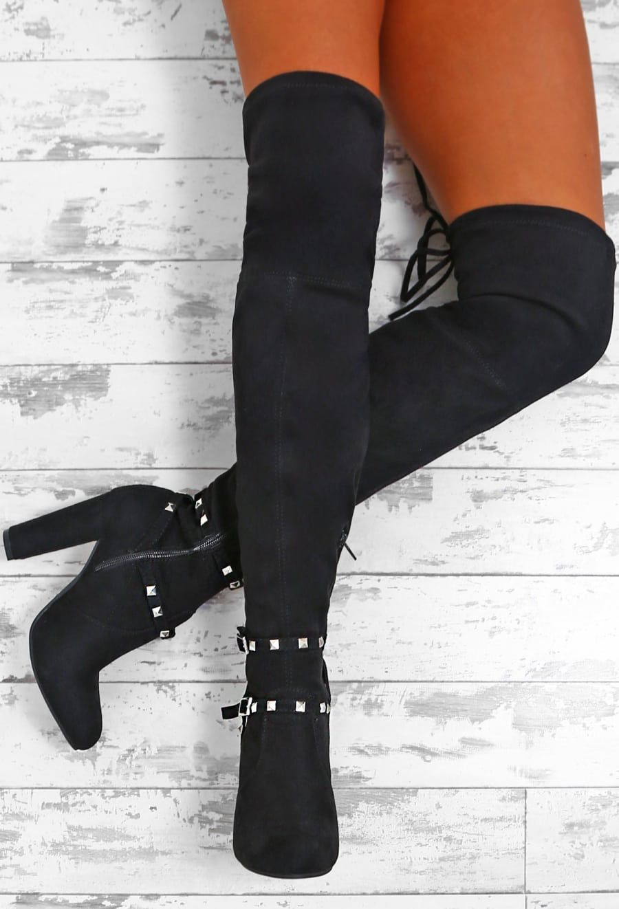 f0dbf17328a4 Own The Game Black Faux Suede Studded Over The Knee Boots - UK 3 ...