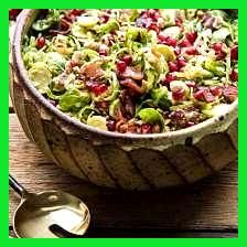 Shredded Brussels Sprout Bacon Salad and Warm Cider Vinaigrette #buffalobrusselsprouts