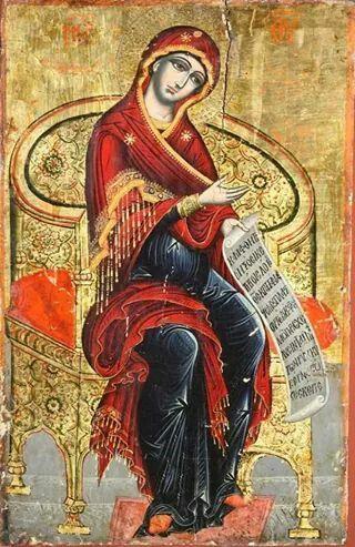 18th century Albanian Icon of pregnant Theotokos.