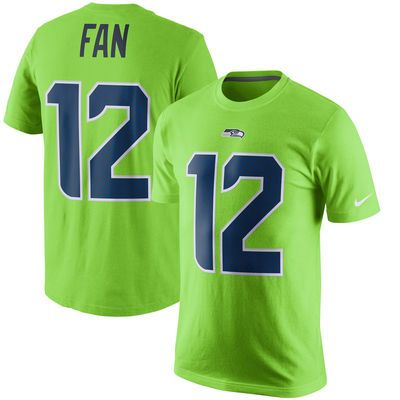 Men s Seattle Seahawks 12 Fan Nike Green Color Rush Player Pride Name    Number T-Shirt ea49c9f19