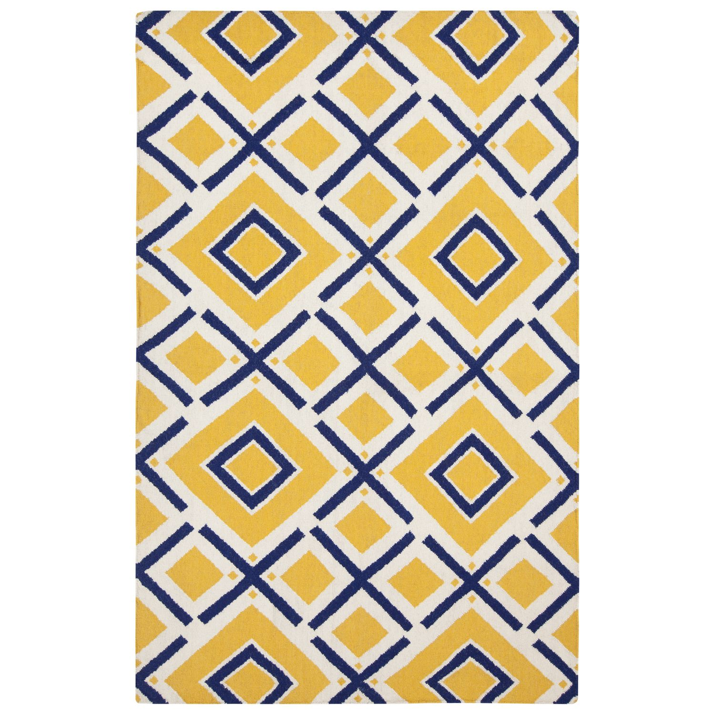 Jill Rosenwald By Surya Fallon Maze Navy Sunshine Yellow Hand Woven Rug Zinc Door