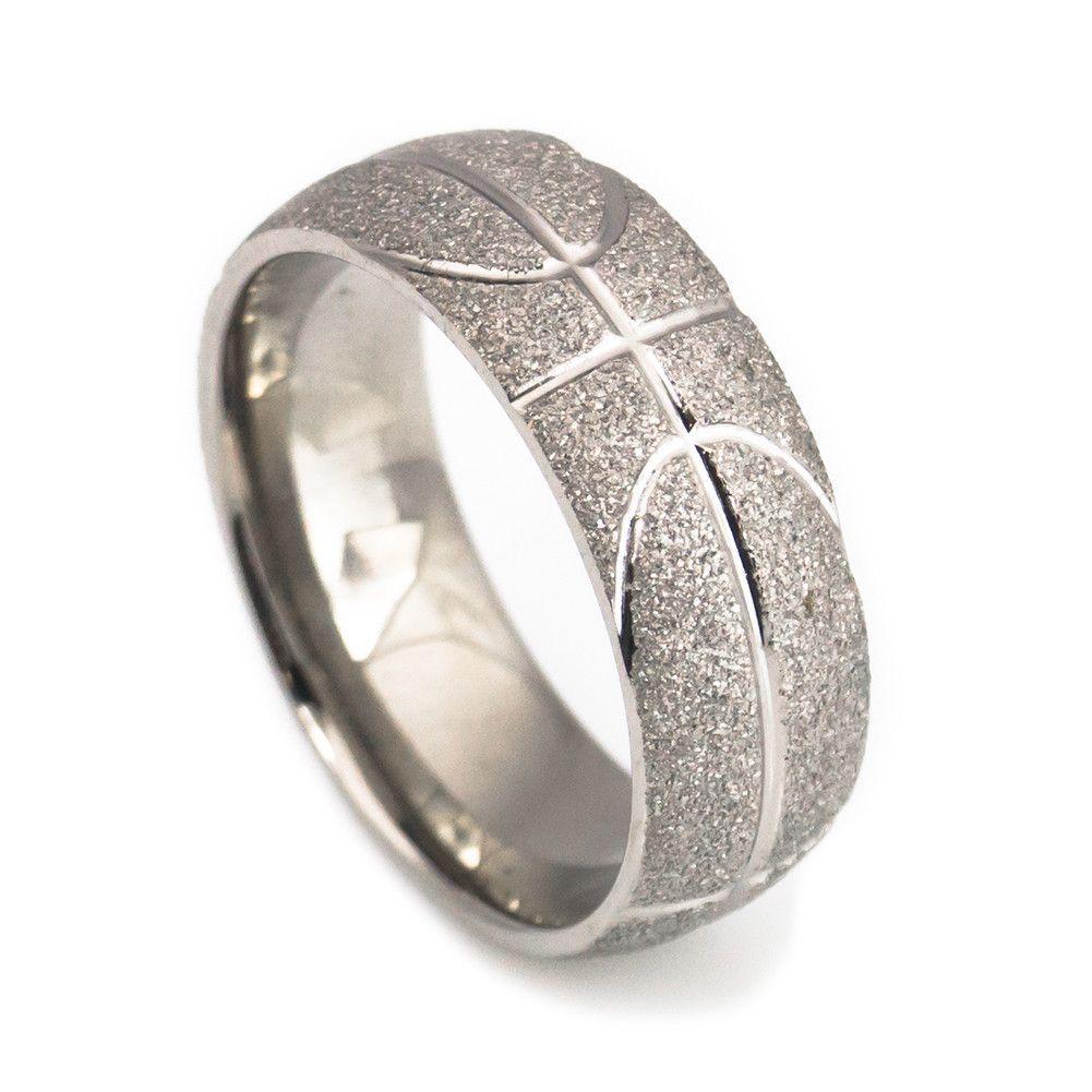 sports wedding bands Handcraft basketball titanium wedding bands for men 8mm
