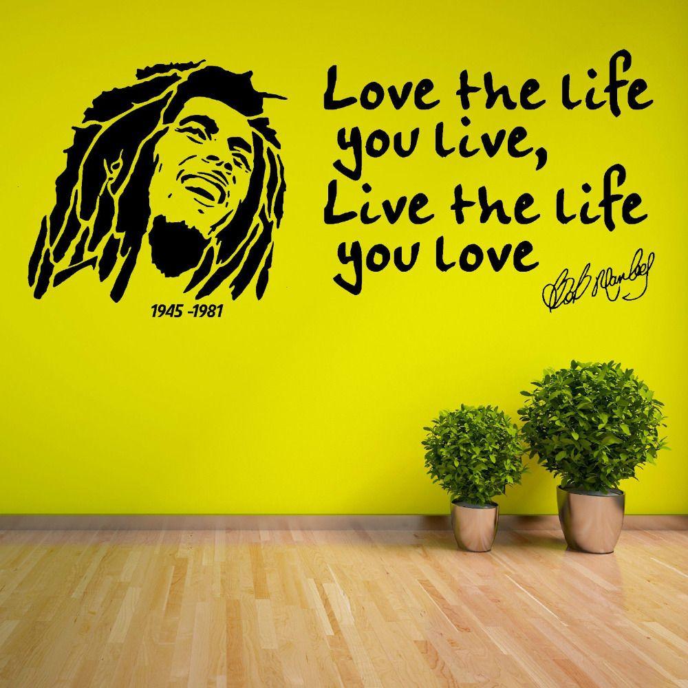 Pas cher 3d Affiche Stickers Muraux Bob Marley Citation \