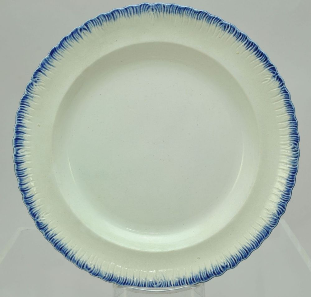 Antique 9 Inch Blue Feather Edge Pearlware Plate 1840 in | eBay ...