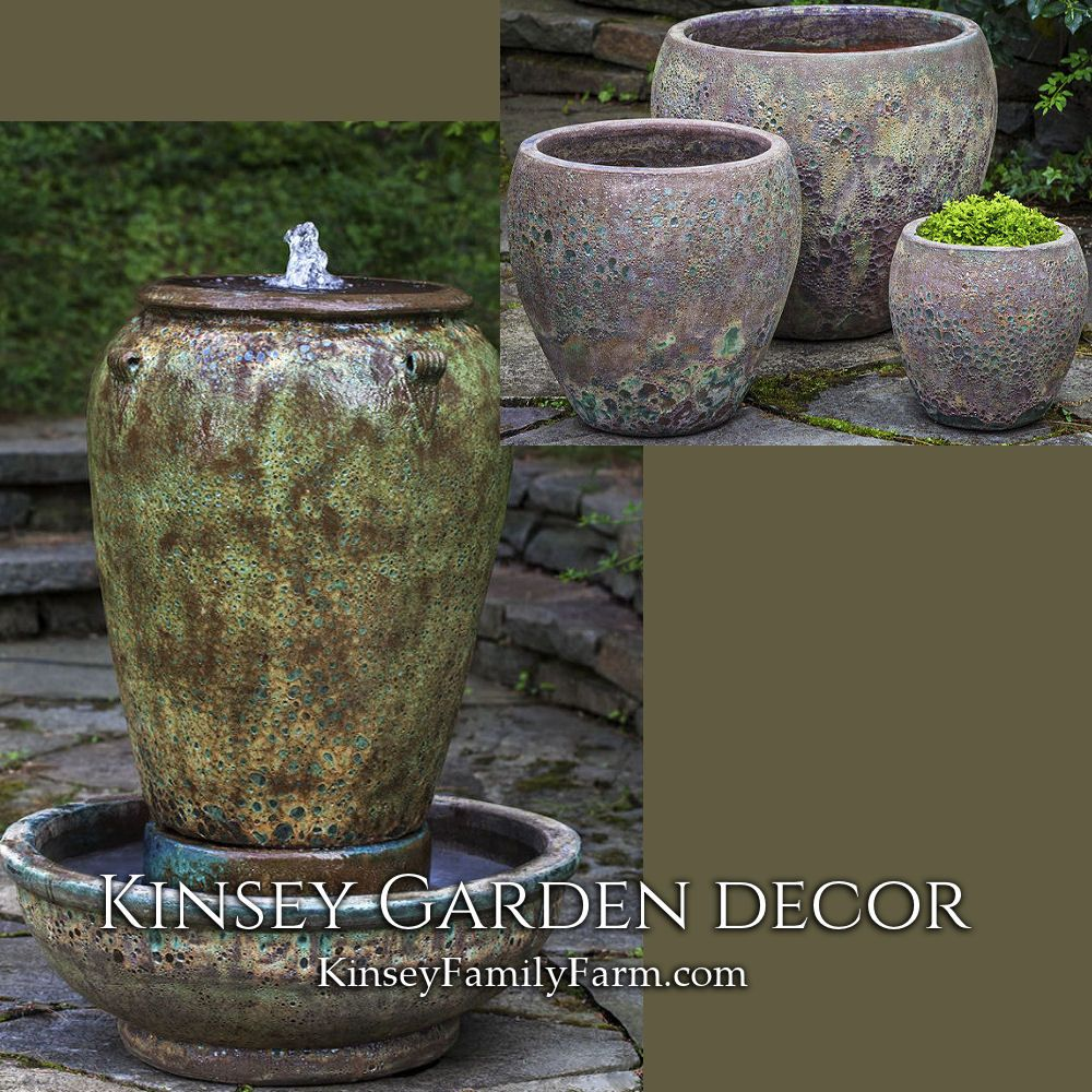 Kinsey Garden Decor Extra Tall Blazed Ceramic Pottery Outdoor Water Fountain And Planters Green Large Diy Garden Fountains Outdoor Planters Fountains Outdoor