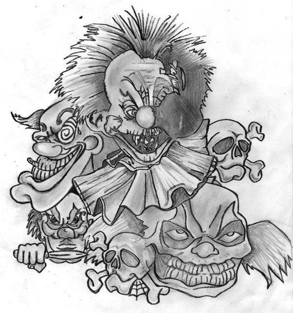 Clowns Sleeve Drawings Tattoo Drawings Clown